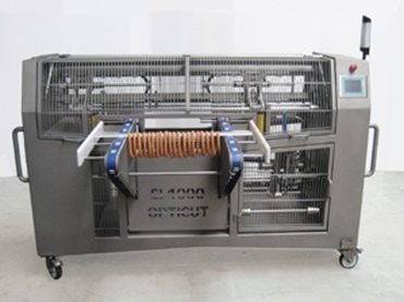 Automatic stainless steel sausage link cutting machine.